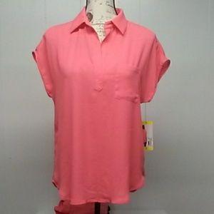 NWOT Pleione Lt. Coral ladies blouse Sz. XL